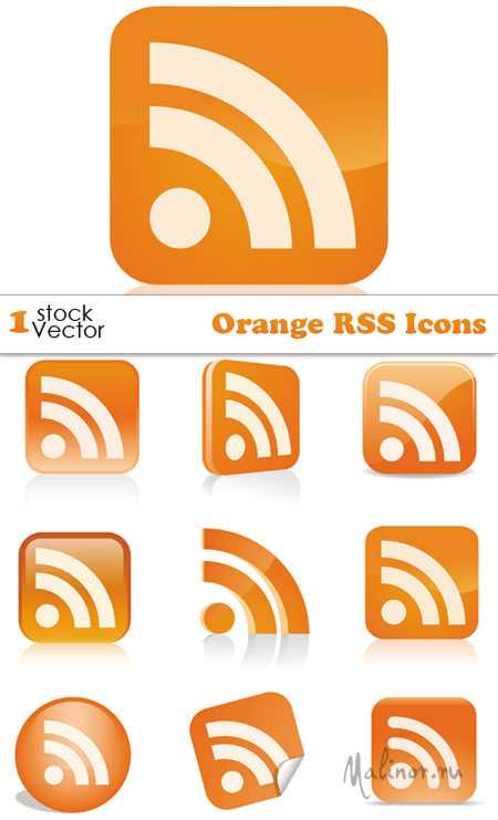 Orange RSS Icons Vector